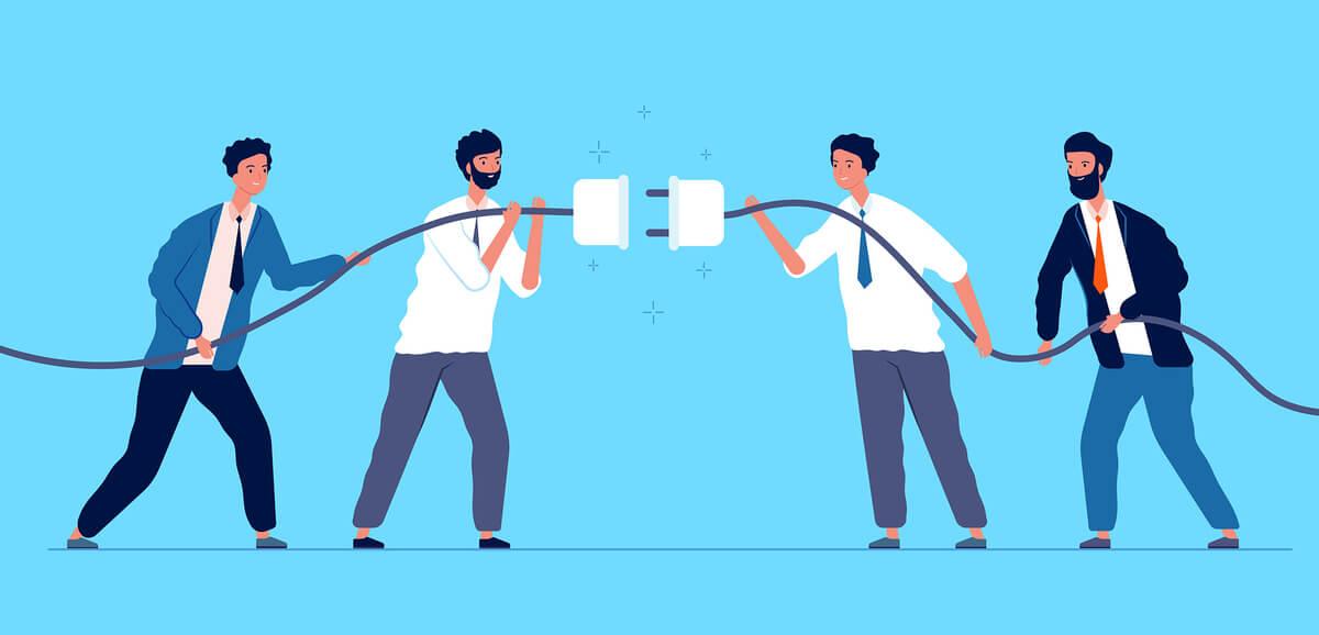 Team koppelt stekker en stopcontact