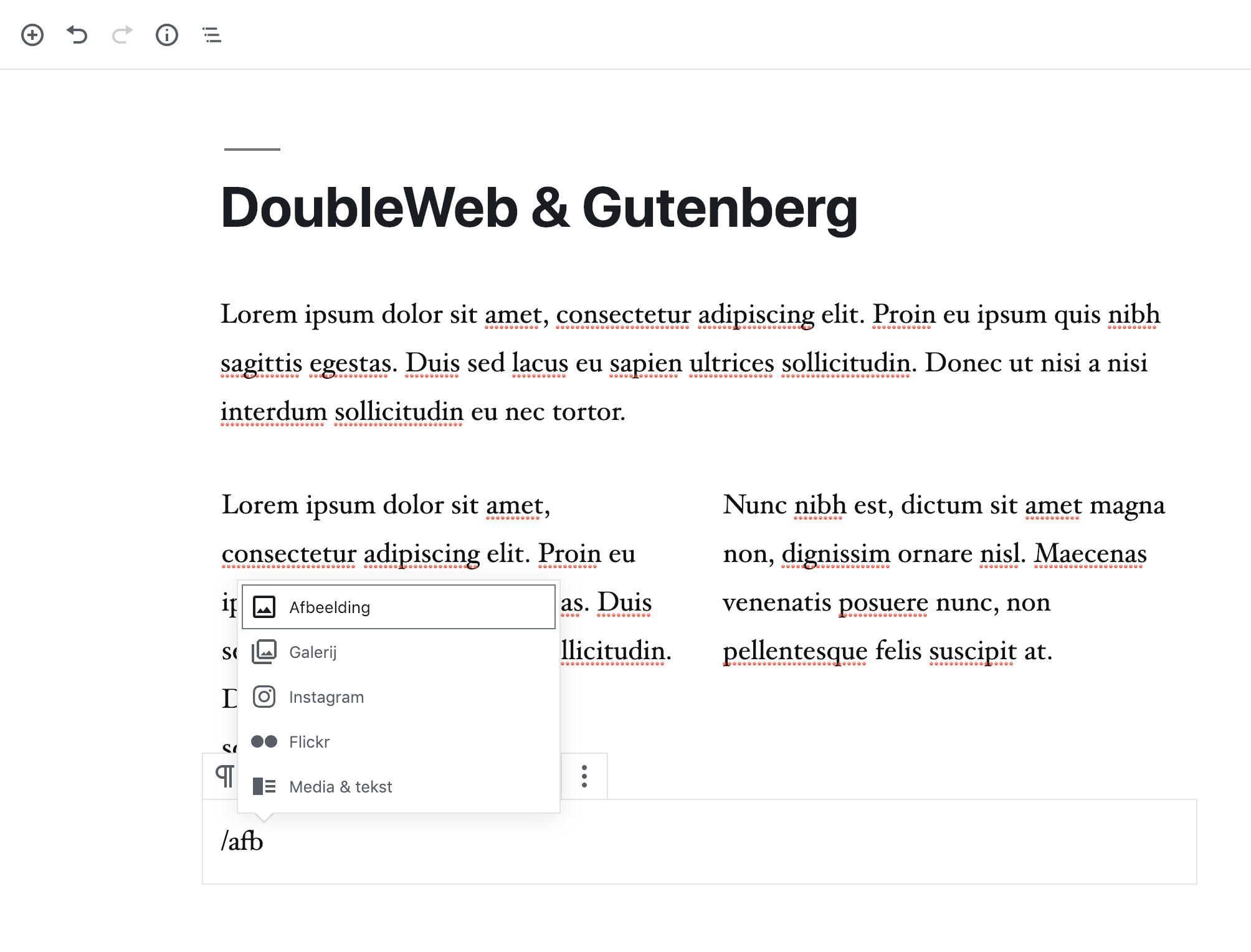 WordPress Gutenberg Editor blokken toevoegen